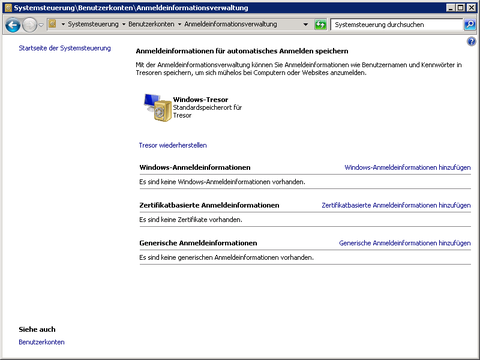 Windows-Tresor in der Systemsteuerung