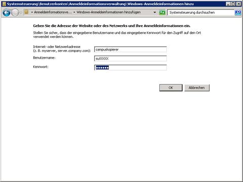 Windows-Tresor: Eingabe der Anmeldedaten